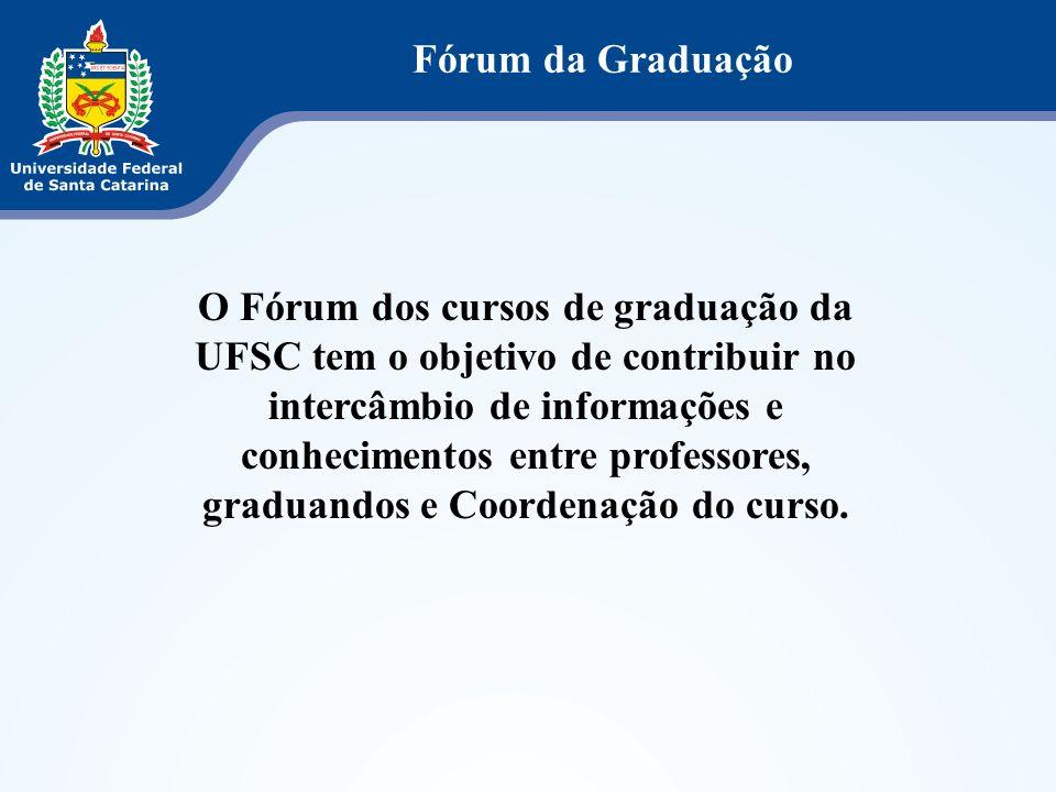 O Fórum dos cursos de graduação da UFSC tem o objetivo de contribuir no intercâmbio de informações e conhecimentos entre professores, graduandos e Coo