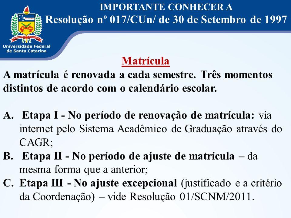 IMPORTANTE CONHECER A Resolução nº 017/CUn/ de 30 de Setembro de 1997 Matrícula A matrícula é renovada a cada semestre. Três momentos distintos de aco