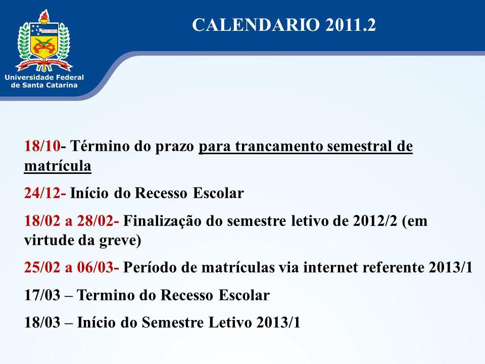 CALENDARIO 2011.2 18/10- Término do prazo para trancamento semestral de matrícula 24/12- Início do Recesso Escolar 18/02 a 28/02- Finalização do semes