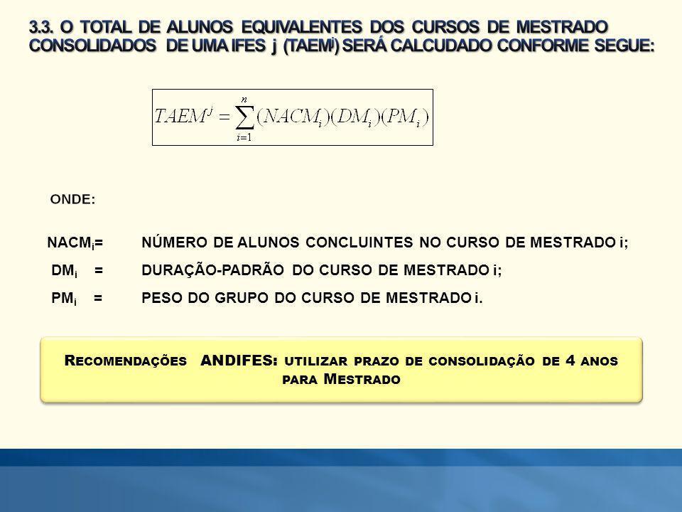 R ECOMENDAÇÕES ANDIFES: UTILIZAR PRAZO DE CONSOLIDAÇÃO DE 4 ANOS PARA M ESTRADO NACM i =NÚMERO DE ALUNOS CONCLUINTES NO CURSO DE MESTRADO i; DM i =DURAÇÃO-PADRÃO DO CURSO DE MESTRADO i; PM i =PESO DO GRUPO DO CURSO DE MESTRADO i.