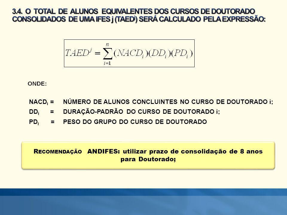 R ECOMENDAÇÃO ANDIFES: utilizar prazo de consolidação de 8 anos para Doutorado; NACD i = NÚMERO DE ALUNOS CONCLUINTES NO CURSO DE DOUTORADO i; DD i =D