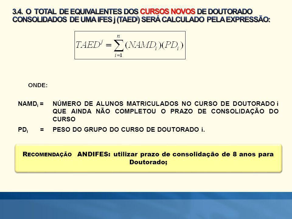 R ECOMENDAÇÃO ANDIFES: utilizar prazo de consolidação de 8 anos para Doutorado; NAMD i = NÚMERO DE ALUNOS MATRICULADOS NO CURSO DE DOUTORADO i QUE AIN