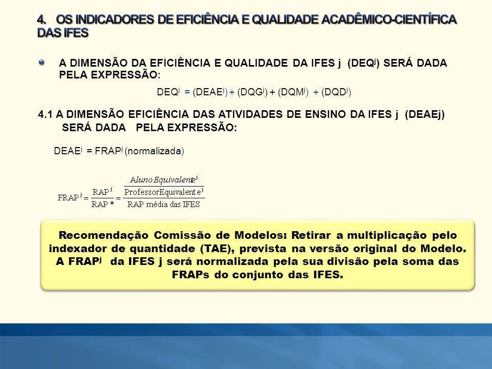 Recomendação Comissão de Modelos: Retirar a multiplicação pelo indexador de quantidade (TAE), prevista na versão original do Modelo. A FRAP j da IFES
