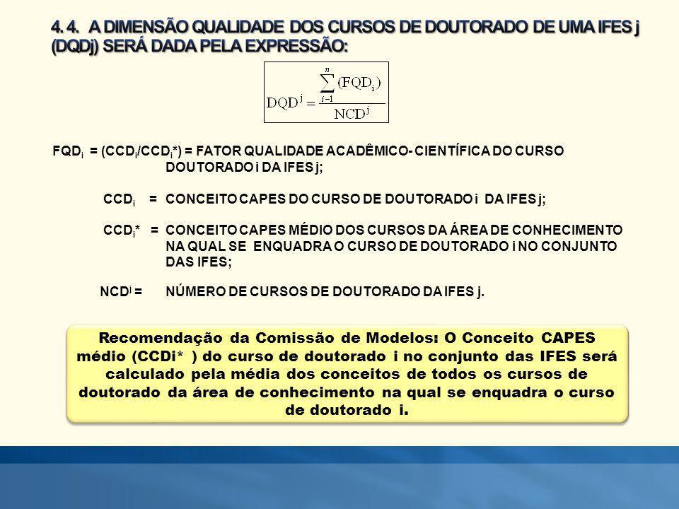Recomendação da Comissão de Modelos: O Conceito CAPES médio (CCDi* ) do curso de doutorado i no conjunto das IFES será calculado pela média dos concei