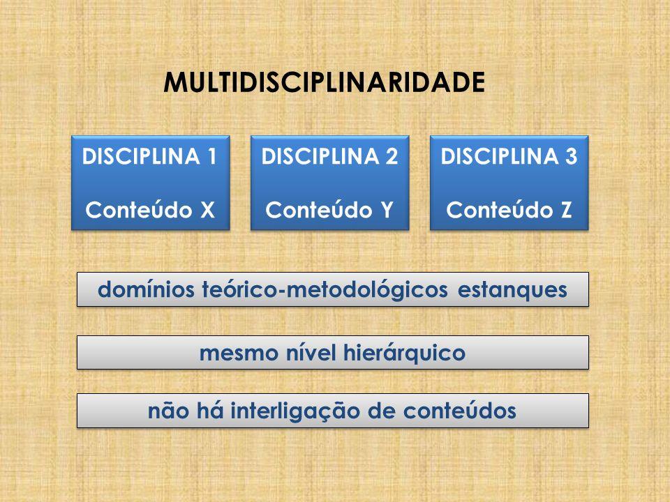 MULTIDISCIPLINARIDADE DISCIPLINA 1 Conteúdo X DISCIPLINA 1 Conteúdo X DISCIPLINA 3 Conteúdo Z DISCIPLINA 3 Conteúdo Z DISCIPLINA 2 Conteúdo Y DISCIPLI