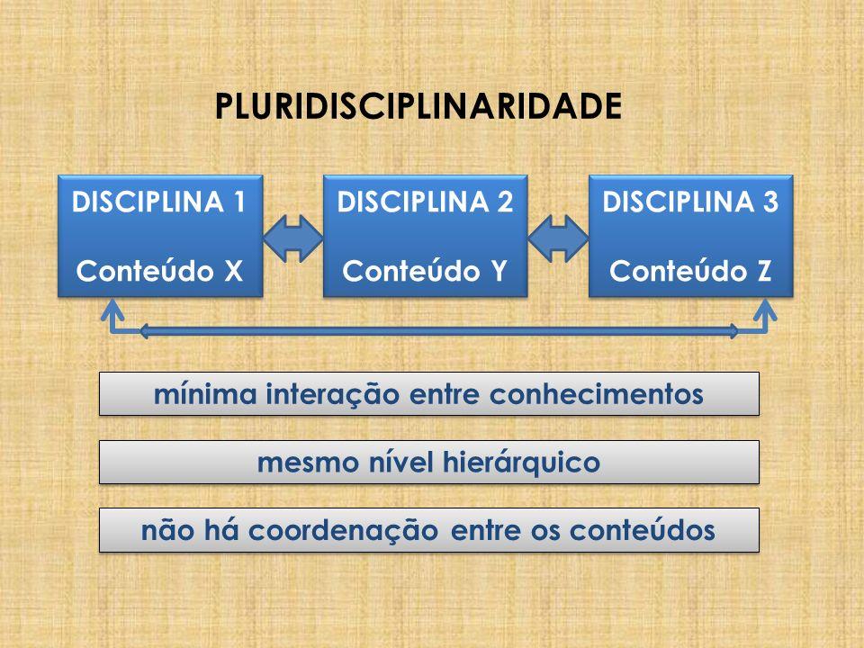 PLURIDISCIPLINARIDADE DISCIPLINA 1 Conteúdo X DISCIPLINA 1 Conteúdo X DISCIPLINA 3 Conteúdo Z DISCIPLINA 3 Conteúdo Z DISCIPLINA 2 Conteúdo Y DISCIPLI