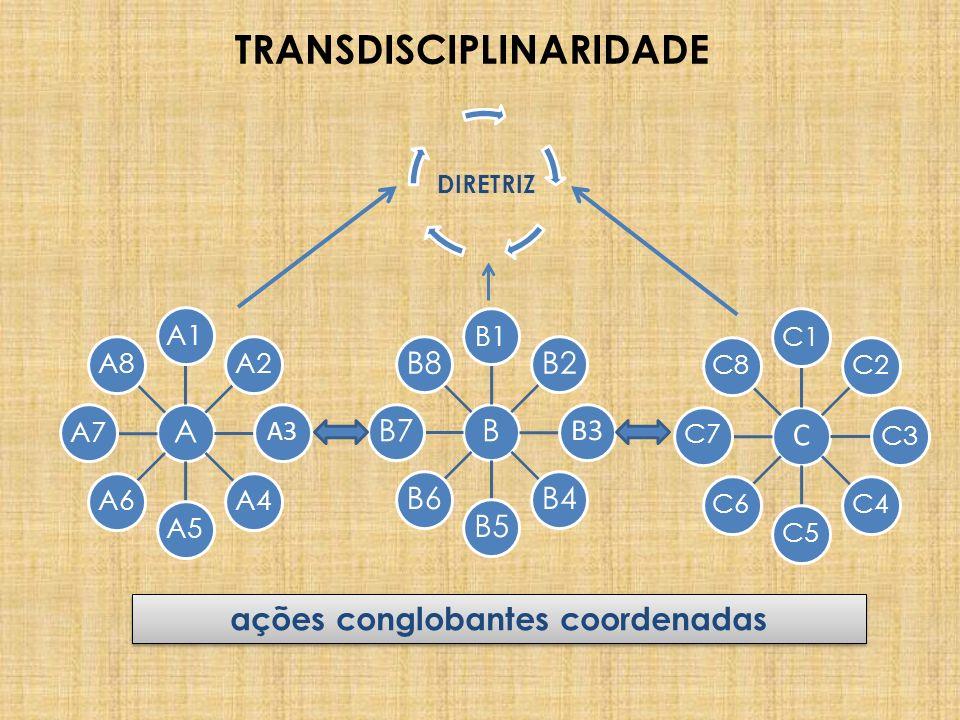 TRANSDISCIPLINARIDADE A A1A2 A3 A4A5A6A7A8 B B1 B2 B3 B4B5B6B7B8 C C1C2C3C4C5C6C7C8 ações conglobantes coordenadas DIRETRIZ