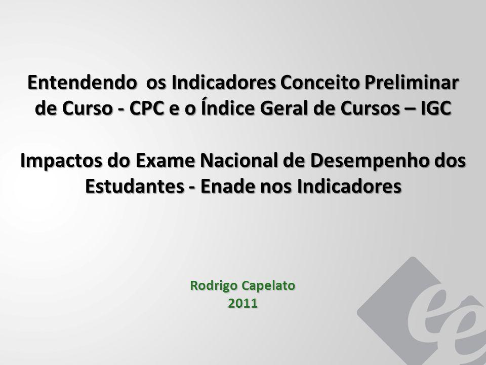 Entendendo os Indicadores Conceito Preliminar de Curso - CPC e o Índice Geral de Cursos – IGC Impactos do Exame Nacional de Desempenho dos Estudantes