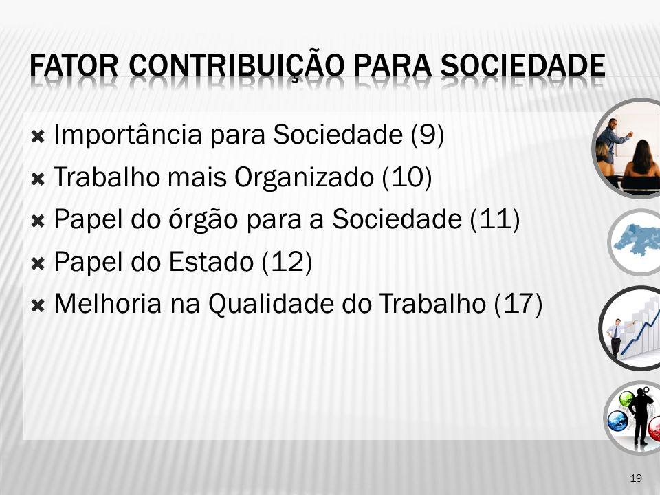 Importância para Sociedade (9) Trabalho mais Organizado (10) Papel do órgão para a Sociedade (11) Papel do Estado (12) Melhoria na Qualidade do Trabalho (17) 19
