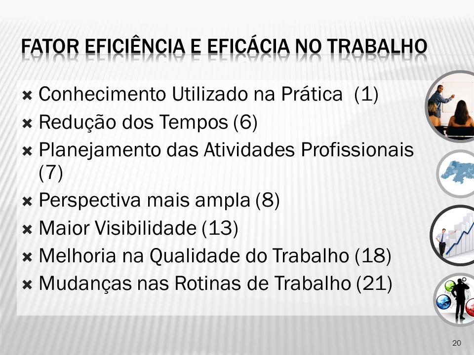 Conhecimento Utilizado na Prática (1) Redução dos Tempos (6) Planejamento das Atividades Profissionais (7) Perspectiva mais ampla (8) Maior Visibilida