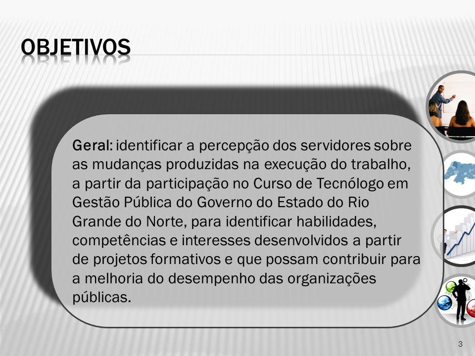 3 Geral: identificar a percepção dos servidores sobre as mudanças produzidas na execução do trabalho, a partir da participação no Curso de Tecnólogo e