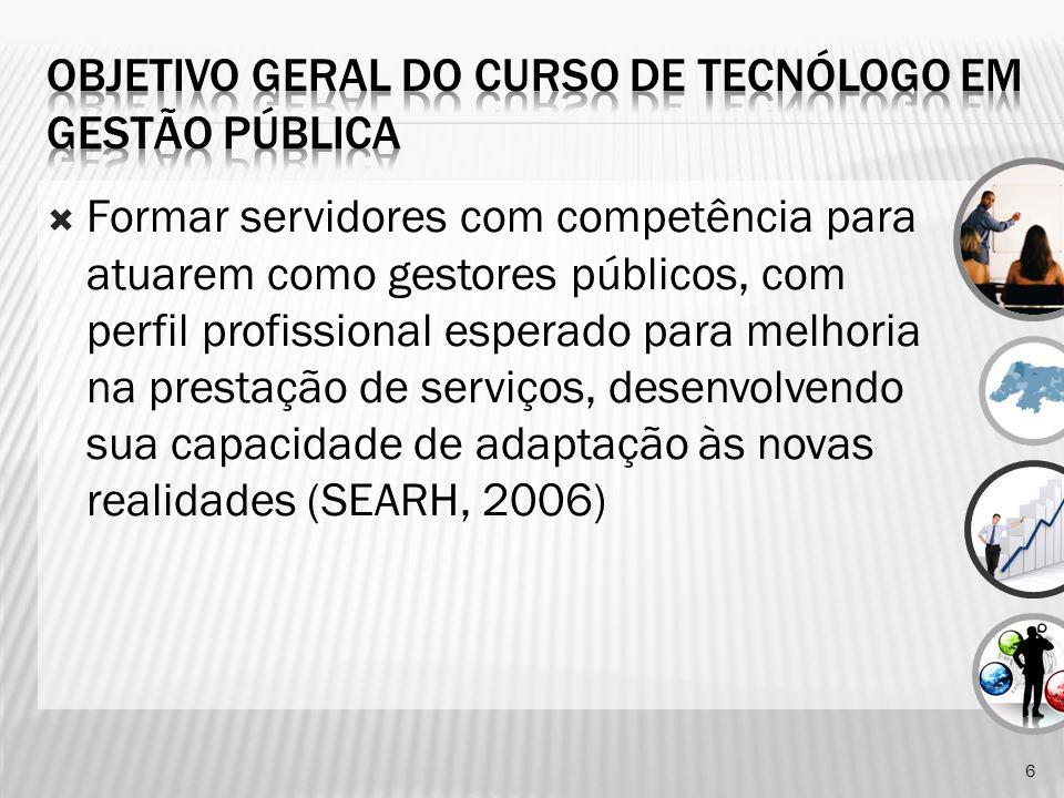 Formar servidores com competência para atuarem como gestores públicos, com perfil profissional esperado para melhoria na prestação de serviços, desenvolvendo sua capacidade de adaptação às novas realidades (SEARH, 2006) 6