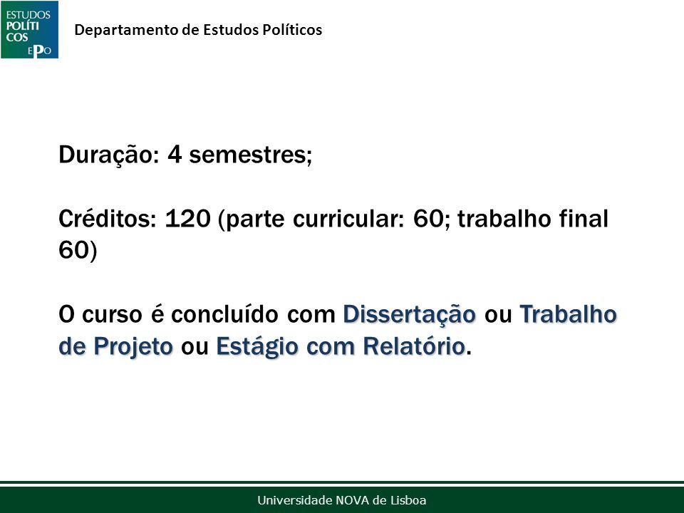 Outubro de 2012 Universidade NOVA de Lisboa Departamento de Estudos Políticos Duração: 4 semestres; Créditos: 120 (parte curricular: 60; trabalho final 60) DissertaçãoTrabalho de ProjetoEstágio com Relatório O curso é concluído com Dissertação ou Trabalho de Projeto ou Estágio com Relatório.