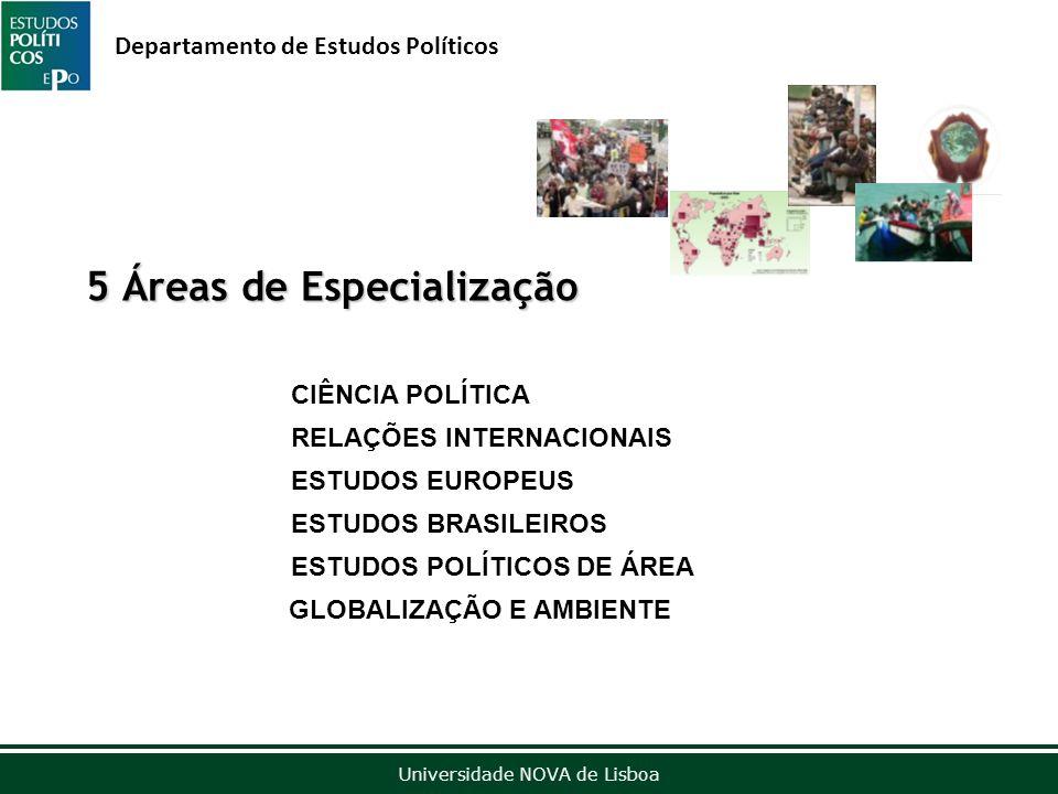 Outubro de 2012 Universidade NOVA de Lisboa Departamento de Estudos Políticos 5 Áreas de Especialização CIÊNCIA POLÍTICA RELAÇÕES INTERNACIONAIS ESTUDOS EUROPEUS ESTUDOS BRASILEIROS ESTUDOS POLÍTICOS DE ÁREA GLOBALIZAÇÃO E AMBIENTE