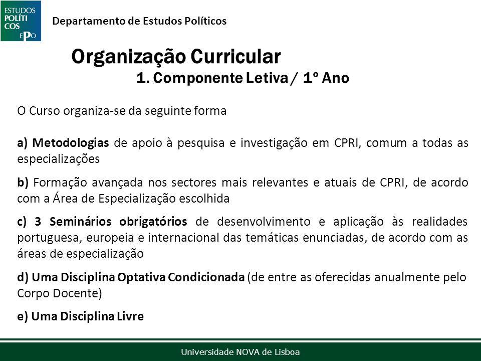 Outubro de 2012 Universidade NOVA de Lisboa Departamento de Estudos Políticos Organização Curricular 1.