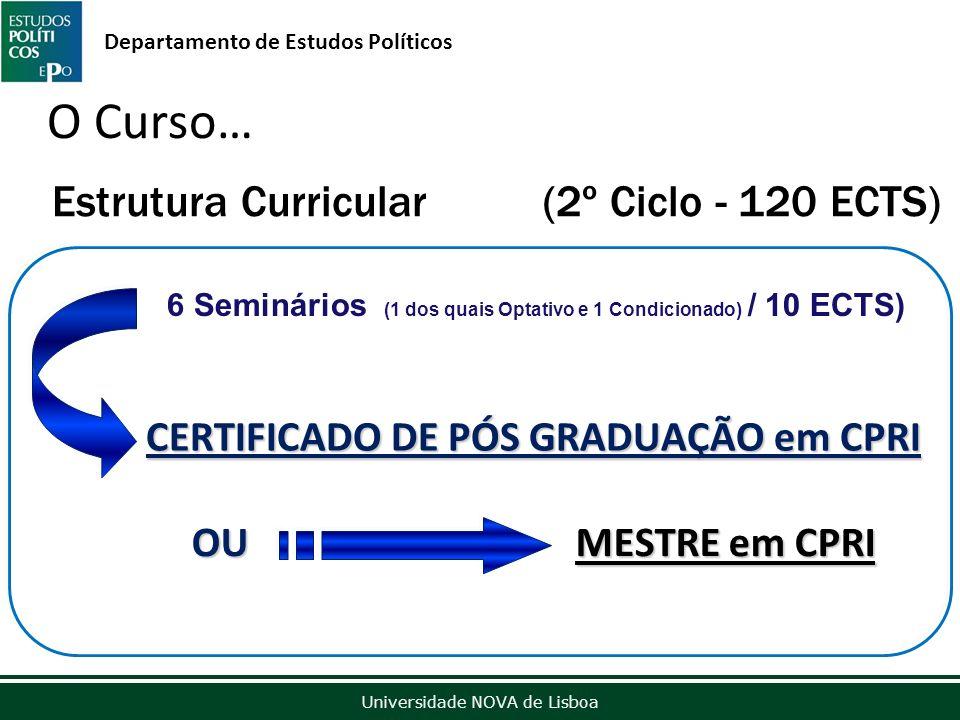 Outubro de 2012 Universidade NOVA de Lisboa Departamento de Estudos Políticos Estrutura Curricular (2º Ciclo - 120 ECTS) O Curso… CERTIFICADO DE PÓS GRADUAÇÃO em CPRI 6 Seminários (1 dos quais Optativo e 1 Condicionado) / 10 ECTS) OU MESTRE em CPRI