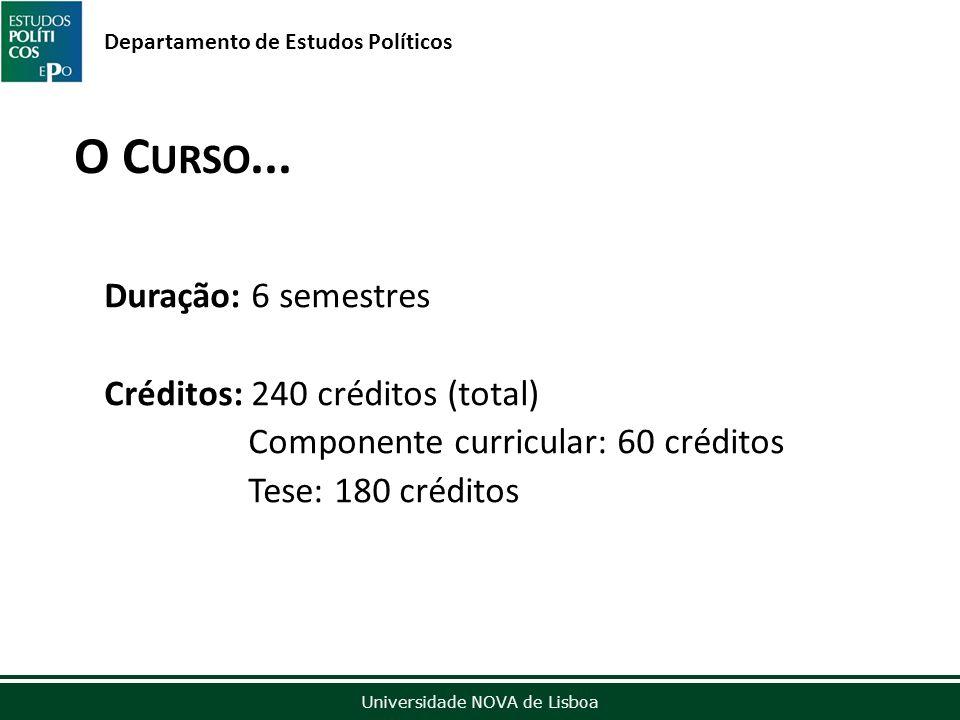 Outubro de 2012 Universidade NOVA de Lisboa Departamento de Estudos Políticos O C URSO...