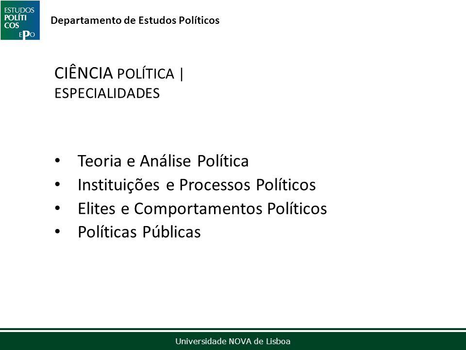 Outubro de 2012 Universidade NOVA de Lisboa Departamento de Estudos Políticos CIÊNCIA POLÍTICA | ESPECIALIDADES Teoria e Análise Política Instituições e Processos Políticos Elites e Comportamentos Políticos Políticas Públicas
