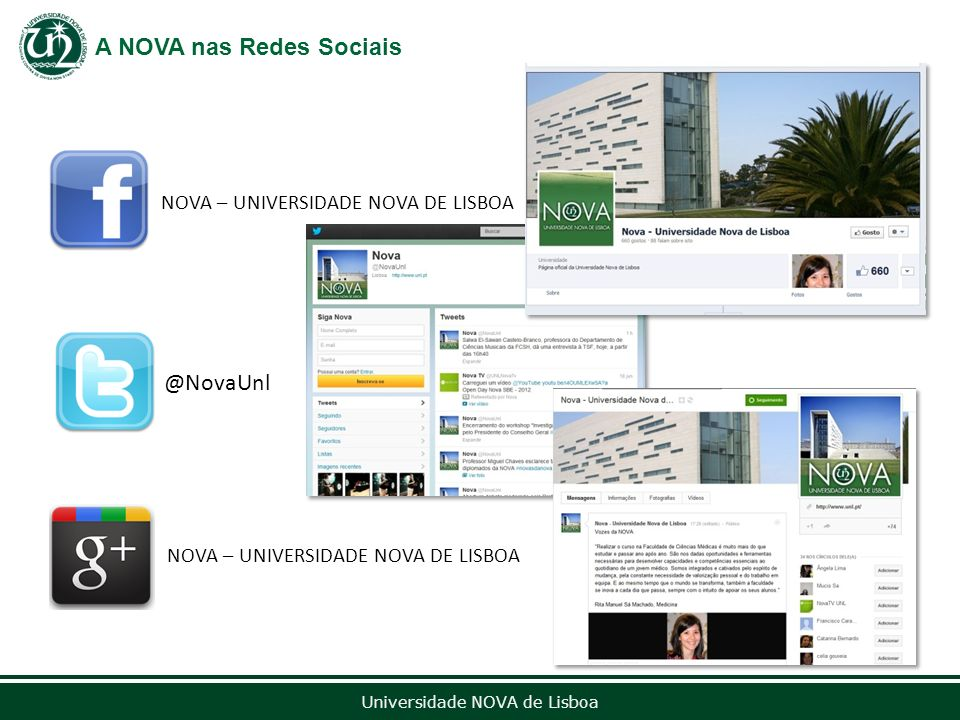 A NOVA nas Redes Sociais NOVA – UNIVERSIDADE NOVA DE LISBOA @NovaUnl 13 de setembro de 2012 Universidade NOVA de Lisboa