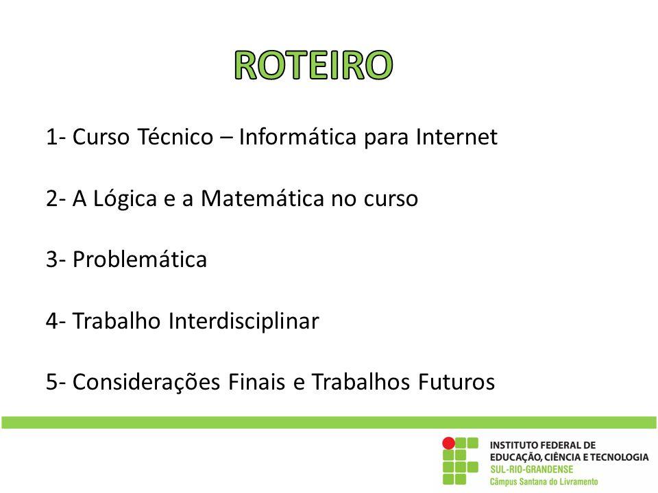 1- Curso Técnico – Informática para Internet 2- A Lógica e a Matemática no curso 3- Problemática 4- Trabalho Interdisciplinar 5- Considerações Finais