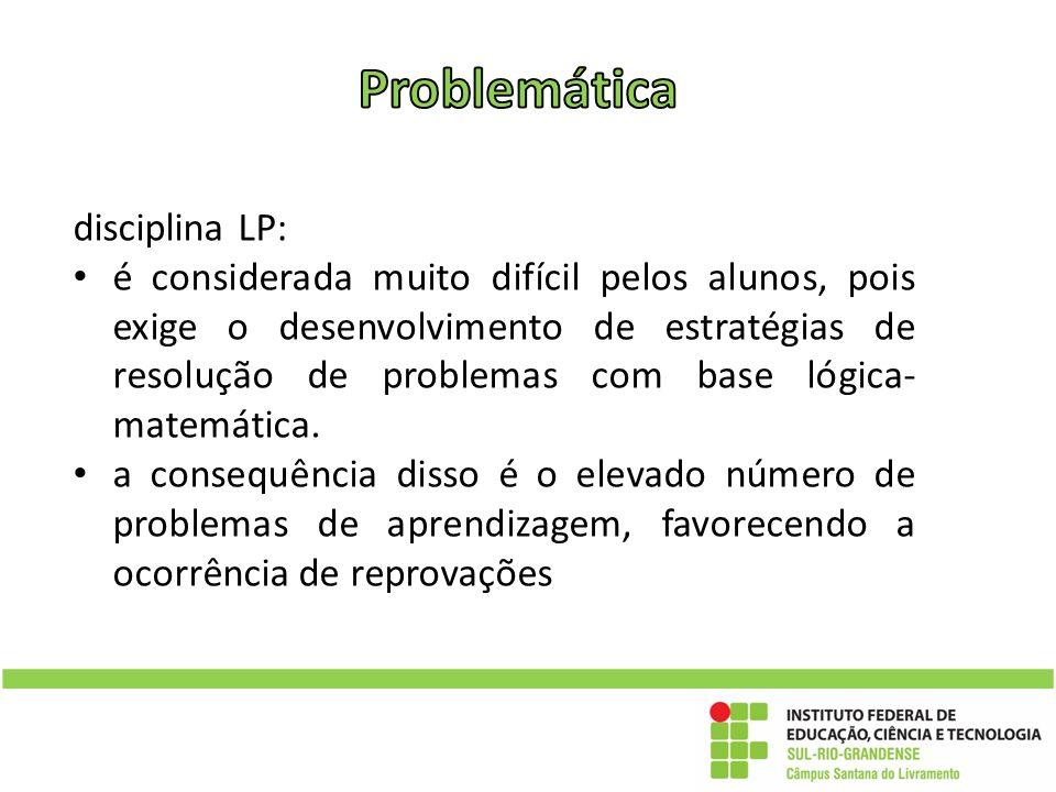 disciplina LP: é considerada muito difícil pelos alunos, pois exige o desenvolvimento de estratégias de resolução de problemas com base lógica- matemá