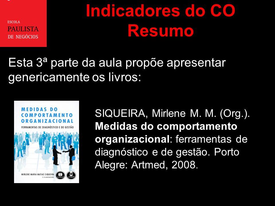 Indicadores do CO Resumo Esta 3ª parte da aula propõe apresentar genericamente os livros: SIQUEIRA, Mirlene M.