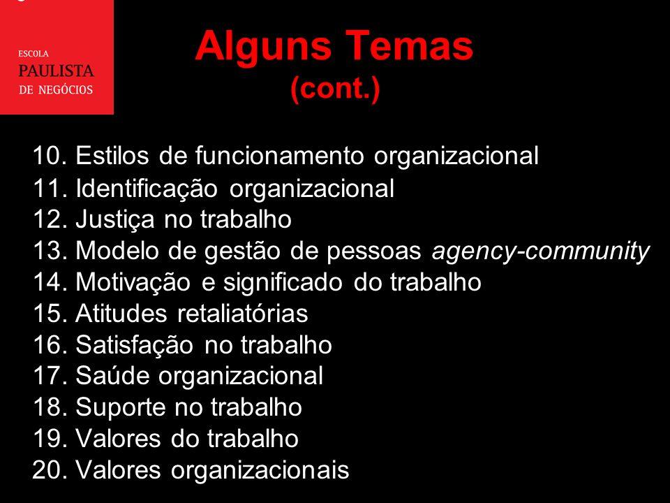 Alguns Temas (cont.) 10.Estilos de funcionamento organizacional 11.