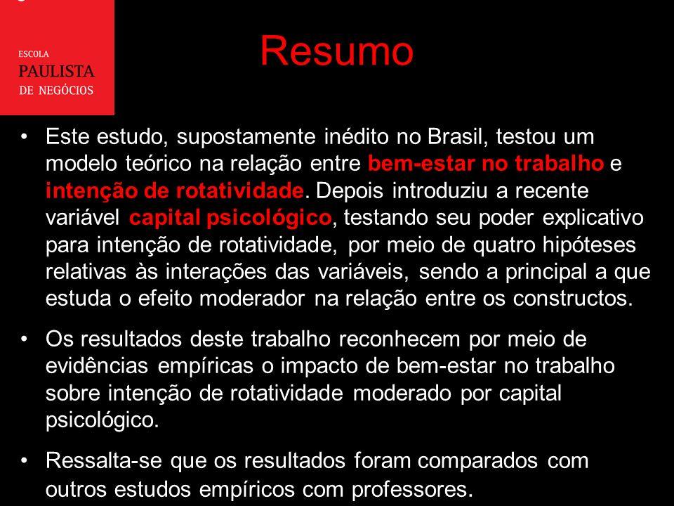 Resumo Este estudo, supostamente inédito no Brasil, testou um modelo teórico na relação entre bem-estar no trabalho e intenção de rotatividade.