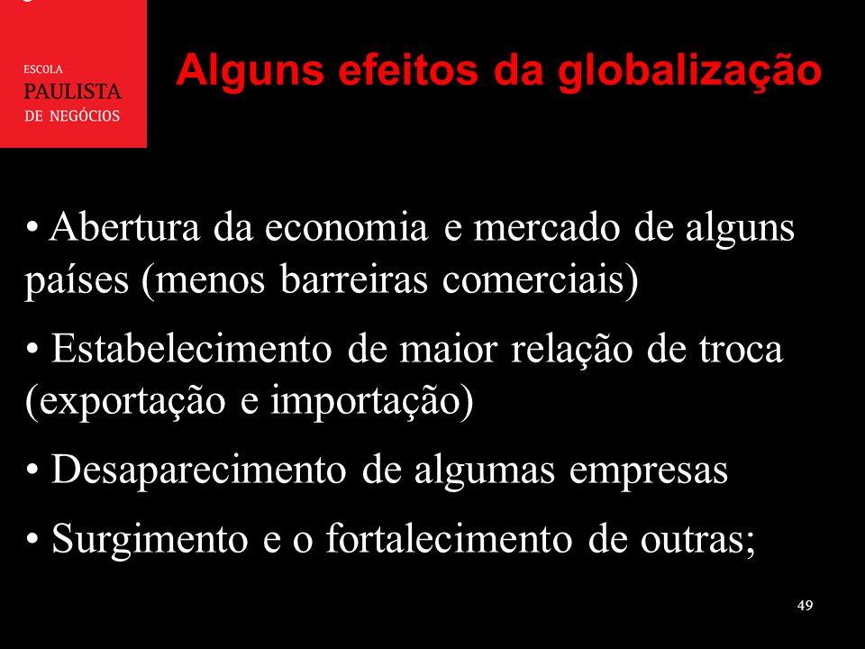 49 Abertura da economia e mercado de alguns países (menos barreiras comerciais) Estabelecimento de maior relação de troca (exportação e importação) Desaparecimento de algumas empresas Surgimento e o fortalecimento de outras; Alguns efeitos da globalização
