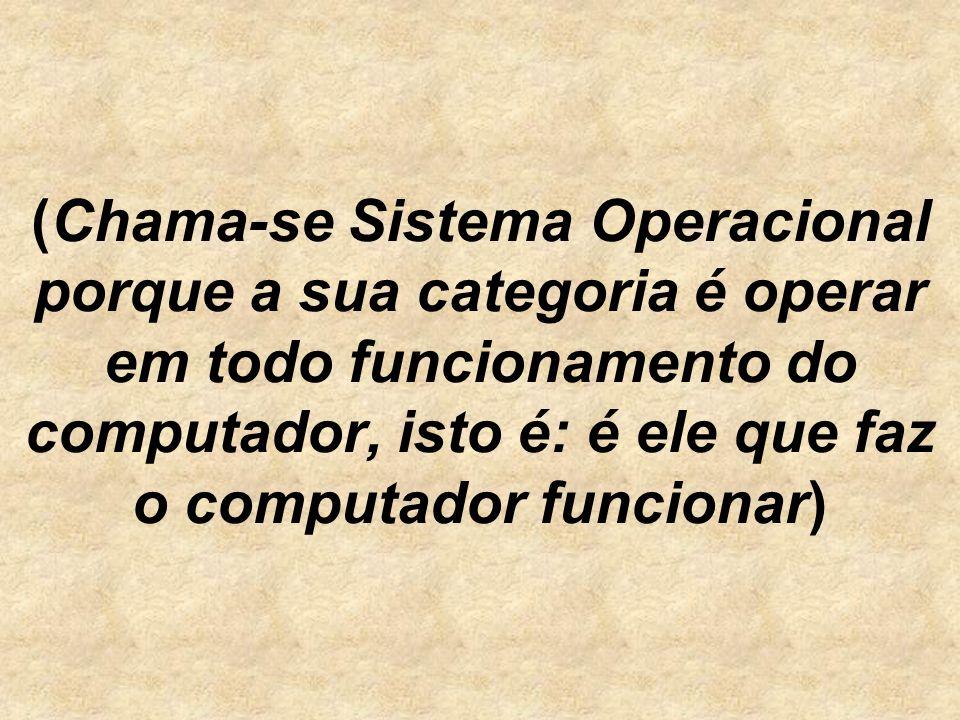 (Chama-se Sistema Operacional porque a sua categoria é operar em todo funcionamento do computador, isto é: é ele que faz o computador funcionar)