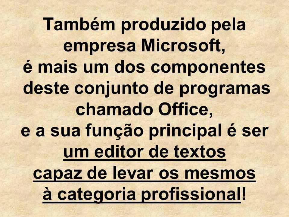Também produzido pela empresa Microsoft, é mais um dos componentes deste conjunto de programas chamado Office, e a sua função principal é ser um editor de textos capaz de levar os mesmos à categoria profissional!