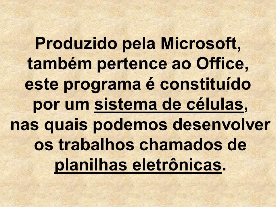 Produzido pela Microsoft, também pertence ao Office, este programa é constituído por um sistema de células, nas quais podemos desenvolver os trabalhos chamados de planilhas eletrônicas.