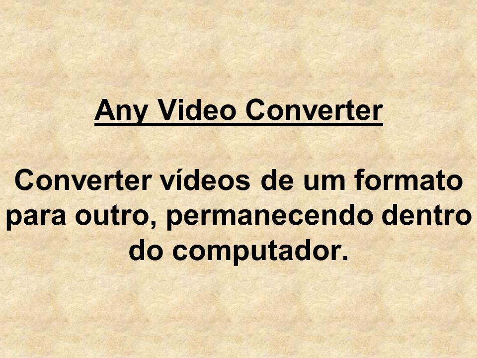 Any Video Converter Converter vídeos de um formato para outro, permanecendo dentro do computador.