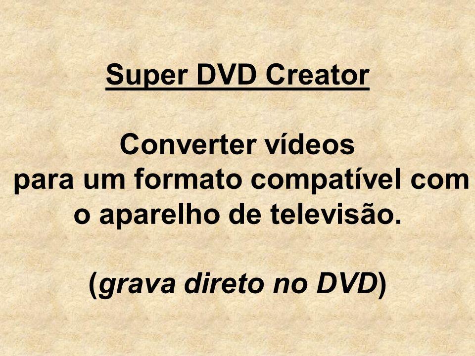 Super DVD Creator Converter vídeos para um formato compatível com o aparelho de televisão.