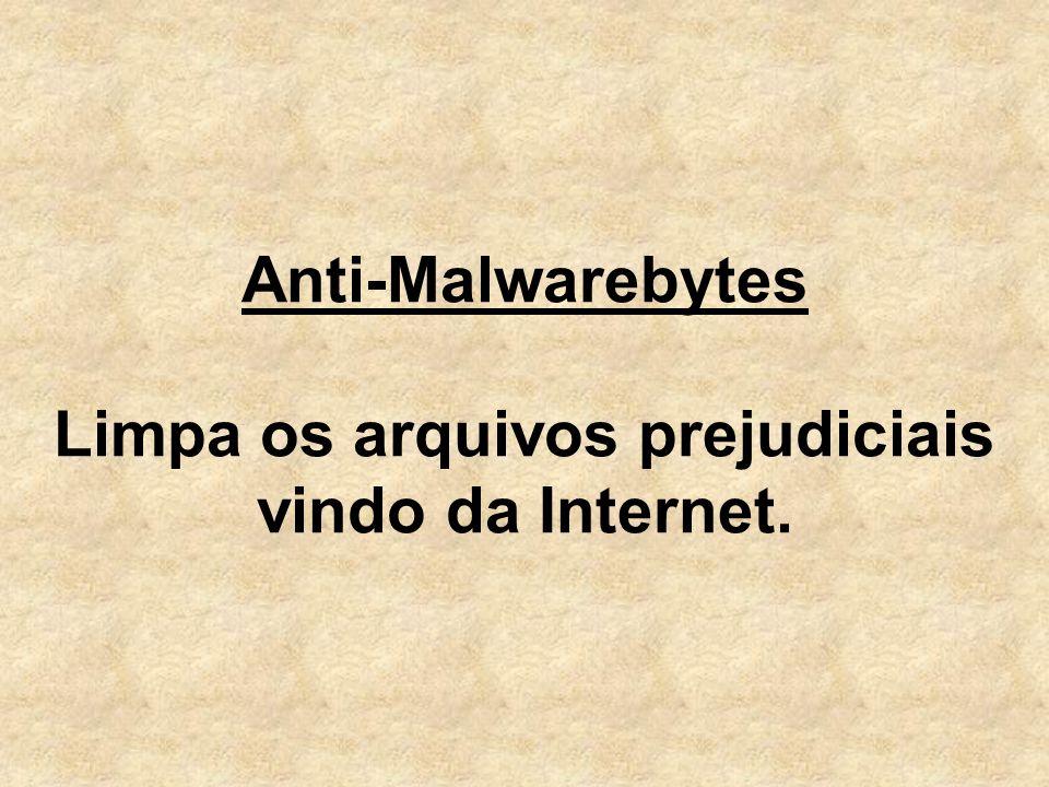 Anti-Malwarebytes Limpa os arquivos prejudiciais vindo da Internet.