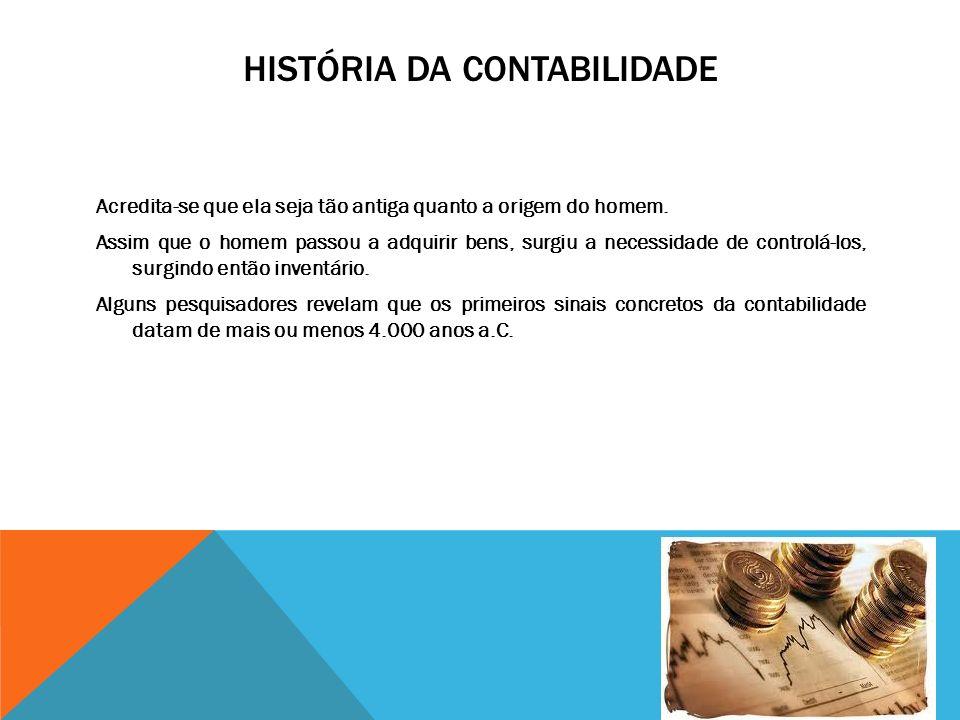 HISTÓRIA DA CONTABILIDADE Acredita-se que ela seja tão antiga quanto a origem do homem.
