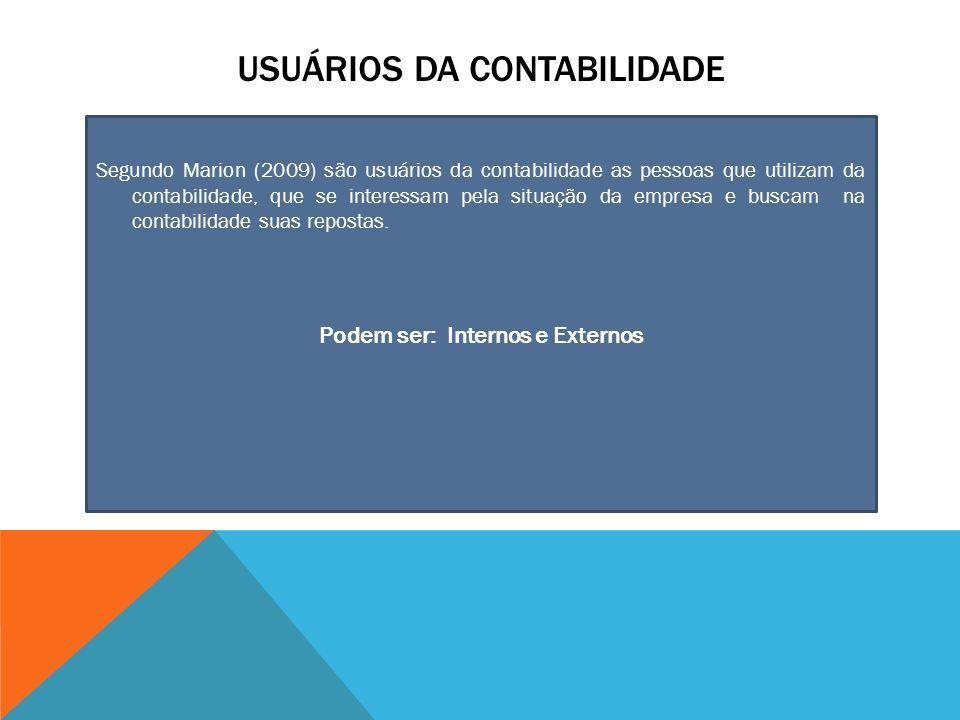 USUÁRIOS DA CONTABILIDADE Segundo Marion (2009) são usuários da contabilidade as pessoas que utilizam da contabilidade, que se interessam pela situação da empresa e buscam na contabilidade suas repostas.