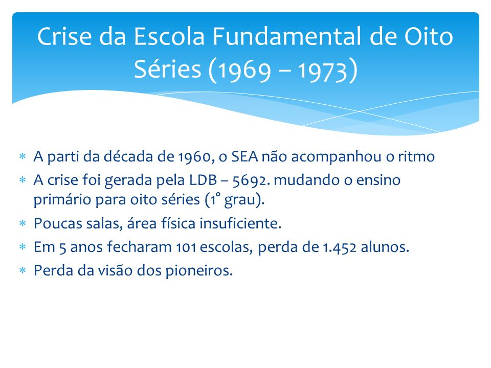A parti da década de 1960, o SEA não acompanhou o ritmo A crise foi gerada pela LDB – 5692.