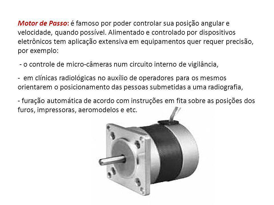 Motor de Passo: é famoso por poder controlar sua posição angular e velocidade, quando possível. Alimentado e controlado por dispositivos eletrônicos t