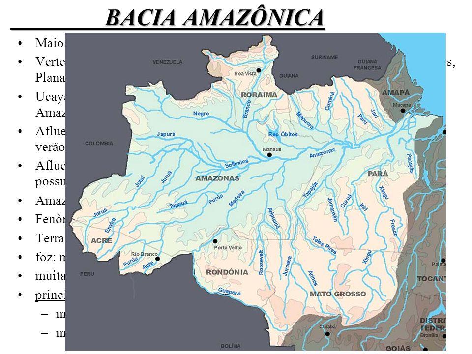 BACIA AMAZÔNICA Maior bacia hidrográfica do planeta.