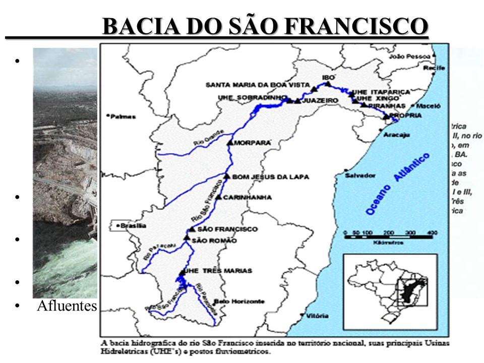 BACIA DO SÃO FRANCISCO Nomenclaturas: Nilo Brasileiro, rio da Intergração Nacional, Rio dos Currais.