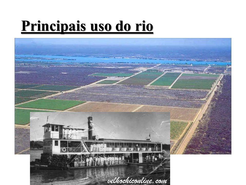 Principais uso do rio Aproveitamento hidrelétrico ; Irrigação; Navegação; Suprimentos de água