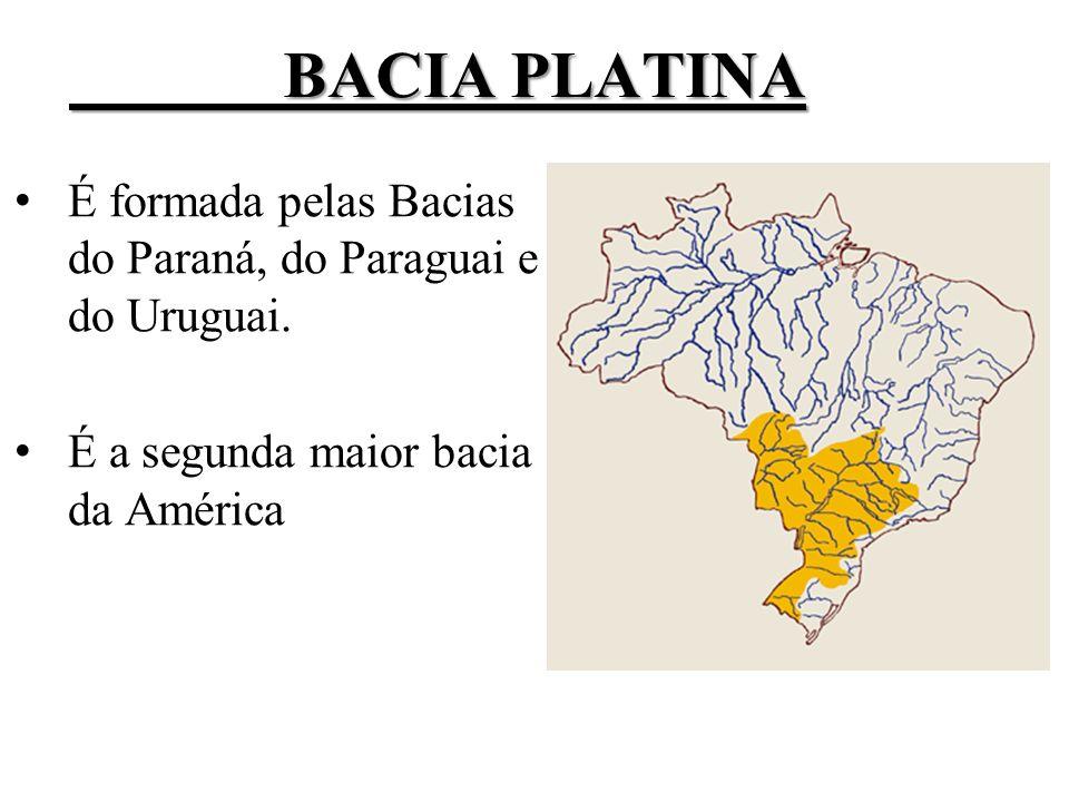 BACIA PLATINA É formada pelas Bacias do Paraná, do Paraguai e do Uruguai.