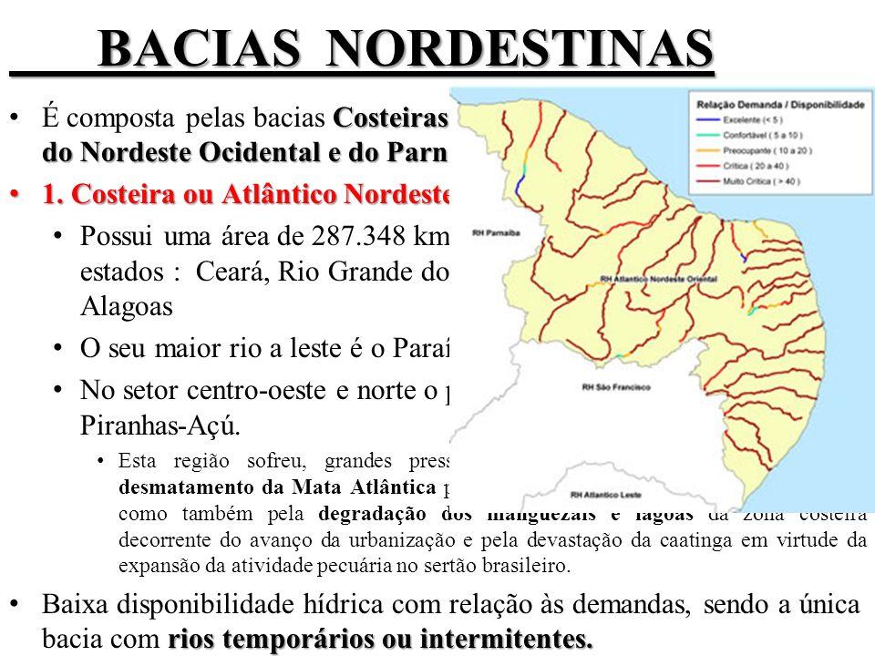 BACIAS NORDESTINAS BACIAS NORDESTINAS Costeiras do Nordeste Oriental, Costeira do Nordeste Ocidental e do Parnaíba.