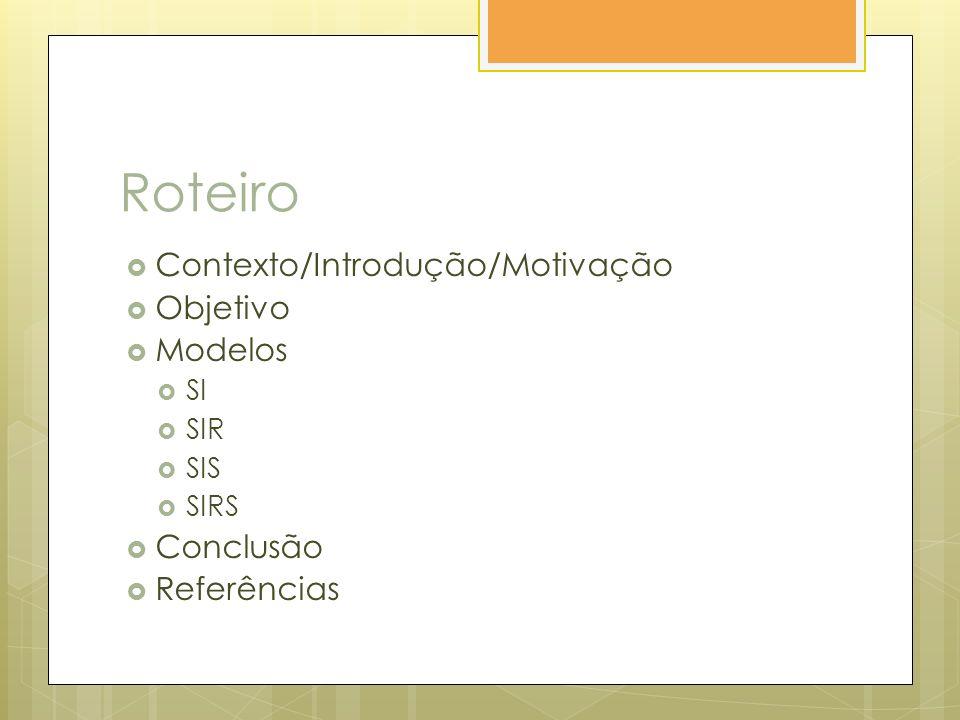 Roteiro Contexto/Introdução/Motivação Objetivo Modelos SI SIR SIS SIRS Conclusão Referências