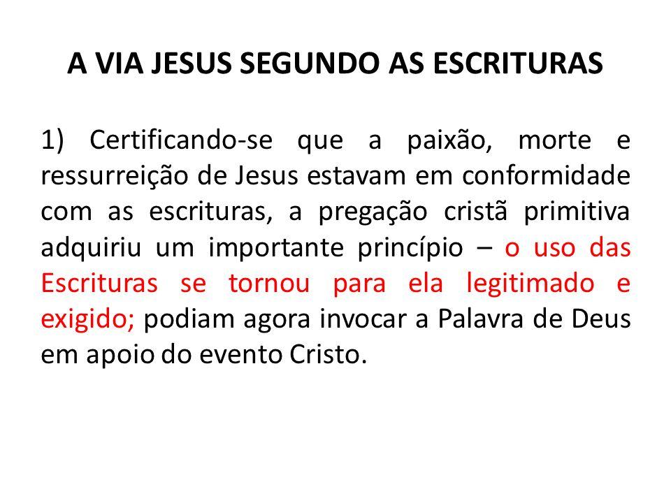 A VIA JESUS SEGUNDO AS ESCRITURAS 1) Certificando-se que a paixão, morte e ressurreição de Jesus estavam em conformidade com as escrituras, a pregação