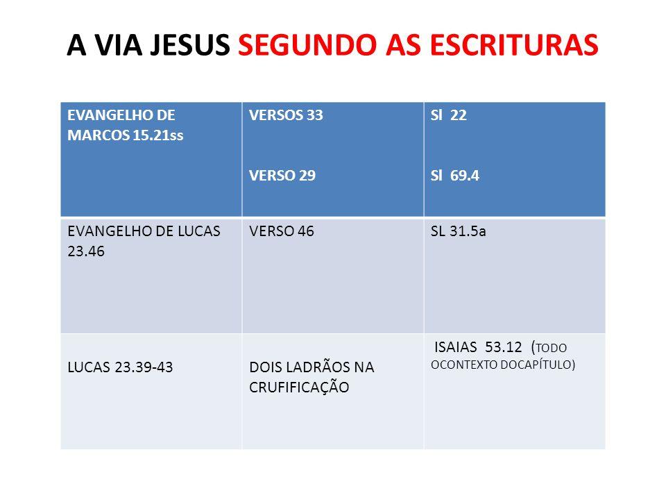 A VIA JESUS SEGUNDO AS ESCRITURAS EVANGELHO DE MARCOS 15.21ss VERSOS 33 VERSO 29 Sl 22 Sl 69.4 EVANGELHO DE LUCAS 23.46 VERSO 46SL 31.5a LUCAS 23.39-4