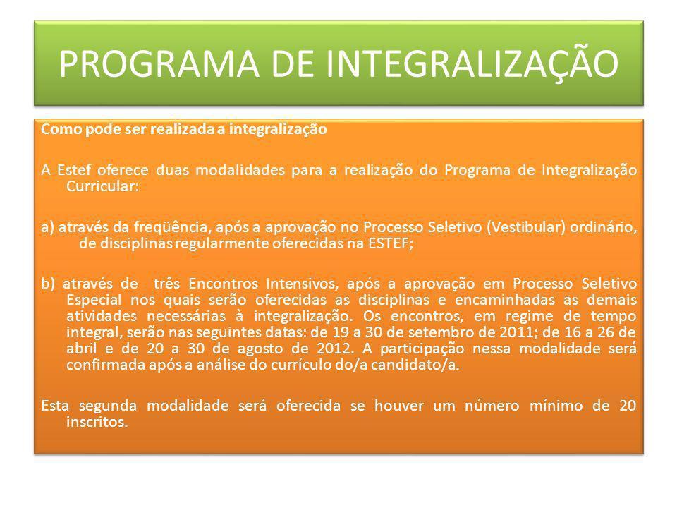 PROGRAMA DE INTEGRALIZAÇÃO Como pode ser realizada a integralização A Estef oferece duas modalidades para a realização do Programa de Integralização C
