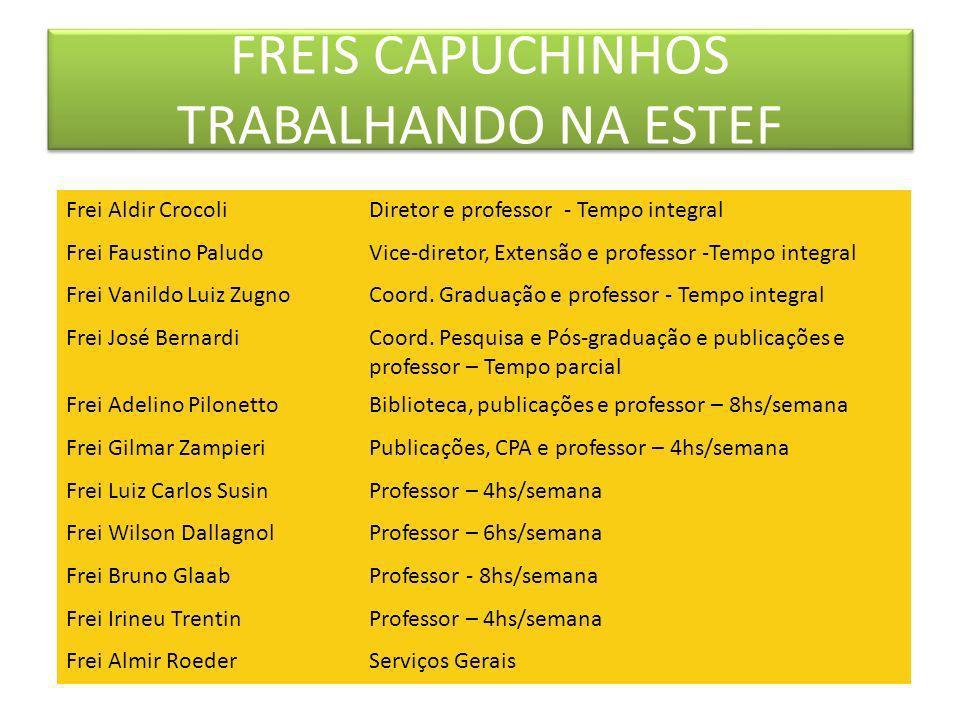 FREIS CAPUCHINHOS TRABALHANDO NA ESTEF Frei Aldir CrocoliDiretor e professor - Tempo integral Frei Faustino PaludoVice-diretor, Extensão e professor -