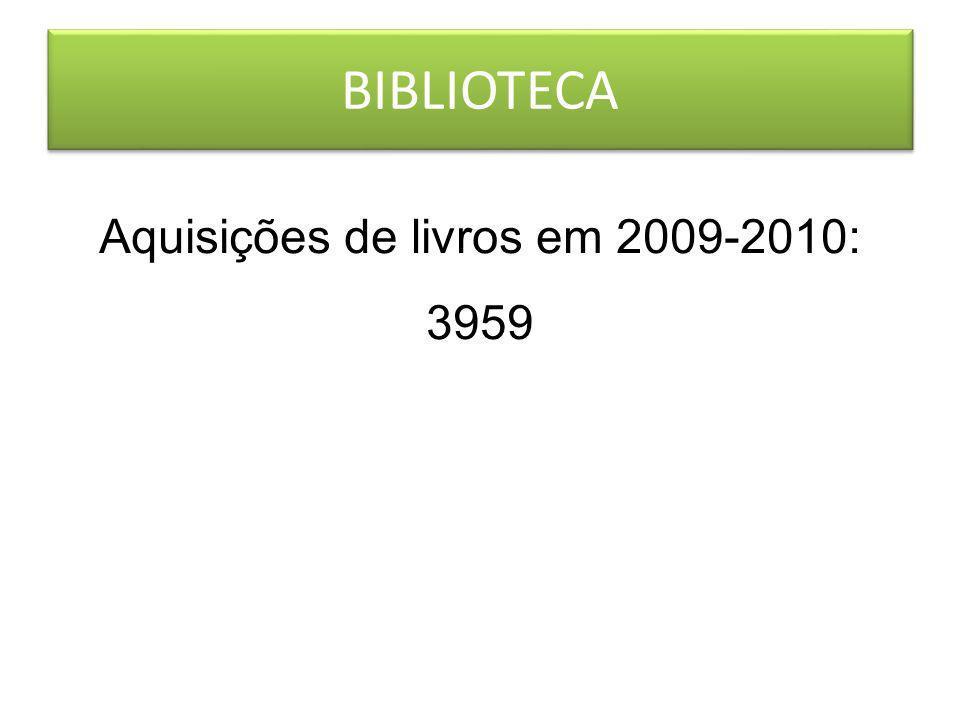 BIBLIOTECA Aquisições de livros em 2009-2010: 3959